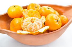 Small oranges. Small orange in bowl isolated on white background stock image