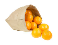 Small oranges spilling from paper bag. Several small oranges spilling from a paper bag onto a white background Stock Images