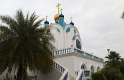 Small orthodox church. The small orthodox church costs in an environment of palm trees in tropics Stock Photos