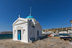 Small orthodox church on the port of town of Mykonos, Greece Royalty Free Stock Photos