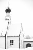 Small Otrhodox church in winter. BW photography of Orthodox church in Latvia Stock Photography