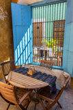 Small Outdoor Cafe. In the historic colonial city of Campeche, Mexico Stock Photo