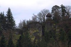 Small outlook hut on stones near Ebersteinburg, Baden-Wurttemberg, Germany Royalty Free Stock Photo