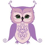 Small owl chick. Element for design isolated on white background. royalty free illustration
