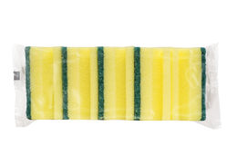 Small pack of sponges. Small pack of yellow sponges for perfect cleaning Royalty Free Stock Photo