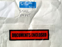 Small packet. Letter or small packet envelope with documents inclosed Stock Photos