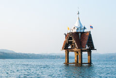 Small pagoda in the river at Sangklaburi, Kanchanaburi. Thailand Stock Photo