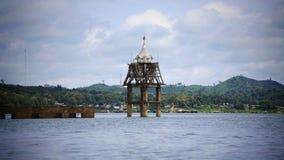 Small pagoda and under water church at Sangklaburi Stock Photo