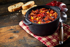 Small pan with chili stew Stock Image