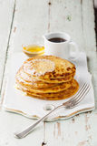 Small pancakes with maple syrup Royalty Free Stock Photography