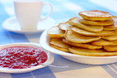 Small pancakes - traditional Russian cuisine Royalty Free Stock Image