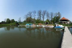 The river port, boats and marina in Veseli nad Moravou. A small panorama showing the port and marina of the river port in Veseli nad Moravou stock photos