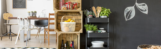 Small pantry in dining hall. Small stylish pantry in spacious modern dining hall stock image