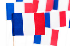 Small paper flag of France with flagpole Stock Images