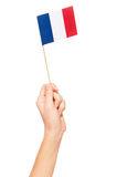 Small paper flag of France in woman`s hand Stock Photos