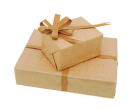 Small parcel wrapped. In brown packing paper, tied with twine royalty free stock photography