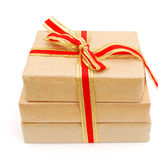 Small parcel wrapped boxes. Small parcel wrapped in brown paper stock image
