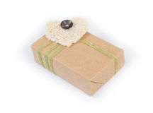 Small parcel wrapped. In brown packing paper stock images