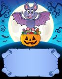 Small parchment and Halloween bat 1 Vector Illustration