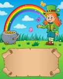 Small parchment with leprechaun girl Royalty Free Stock Photos