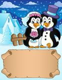 Small parchment and penguin wedding 2 royalty free stock photography