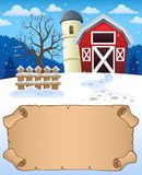 Small parchment and winter farm royalty free stock image