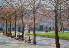 A small park in the center of paris.oil painting Royalty Free Stock Image