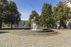 Small park on the edge of the marketplace. Tammela Square Park. In honor of the President and CEO Emil Aaltonen's birth 100th anniversary in 1969, the park stock image