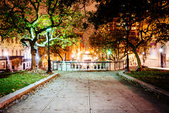 Small park in Mount Vernon at night, in Baltimore, Maryland. Stock Image