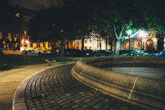 Small park in Mount Vernon at night, in Baltimore, Maryland. Stock Images