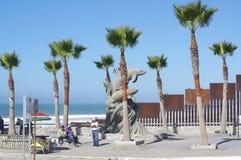 Small Park next to USA-Mexico Wall stock image