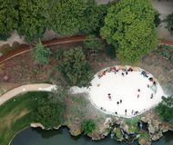 small park in Paris seen from the Eiffel tower royalty free stock photo