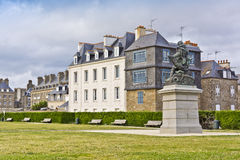 Small Park on waterfront in Saint-Malo. Royalty Free Stock Photography