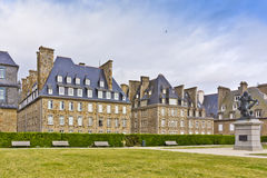 Small Park on waterfront in Saint-Malo. Royalty Free Stock Photos