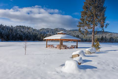 Small park in winter. Royalty Free Stock Photography