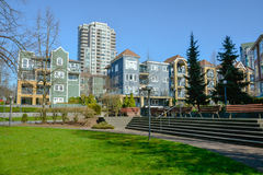 Small park zone in canadian city on winter season. Vancouver, Canada Royalty Free Stock Image