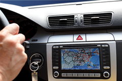 Small part of car dashboard with gps Stock Photography