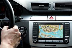 Small part of car dashboard with gps royalty free stock photo