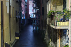 A small part of the old channel. Bologna, Italy. Stock Photography