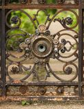 Small part of rusty gate stock photo