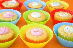 Small party cakes with icing Royalty Free Stock Photography