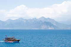 A small passenger boat in Mediterranean Royalty Free Stock Photography