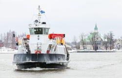 Small passenger ferry enters Helsinki port Stock Image