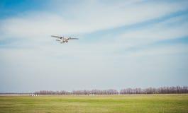 Small passenger plane on takeoff Stock Photos