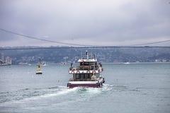Small passenger ship  sailing in Bosphorus Strait Stock Photo