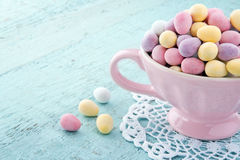 Small pastel color easter eggs Stock Photos