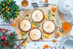 Small Pastry Tartlets Filled with Vanilla Cream, Lemon Curd and Fresh Berries on Rustic White Wooden Table Stock Images