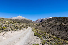 Small path in the Andes. Park Sajama, Bolivia. Small path in the Andes. The weather Andean Highlands Puna grassland ecoregion, of the montane grasslands and royalty free stock image
