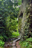 Small path beside stone in mountain. Small path under stone in mountain, with green plant surround in quiet Stock Photo