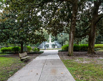 Small Path to Forsyth Fountain. Beautiful old fountain in Savannah's Forsyth Park royalty free stock photography